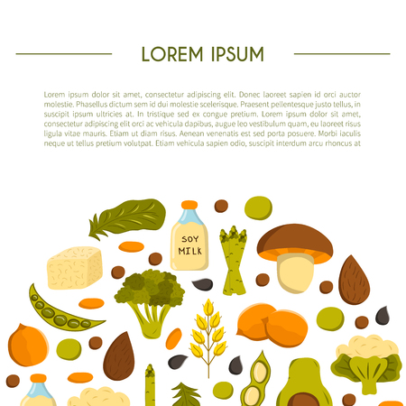 Vector illustration with cartoon source vegan protein background: broccoli, chia seeds, oats seeds, chickpeas, avocado, tofu, soy milk, spinach. Vector cartoon healthy diet icons. Healthy food concept Ilustrace