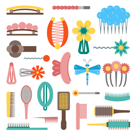 bobby pin: Vector illustration with cartoon flat hairpins icon. Hair accessories objects. Beauty design. Female salon concept. Hairstyle for woman and girl. Set of vector flat icons. Female beauty equipment