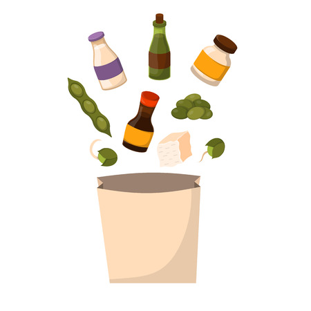 Vector illustration with cartoon soy products: sauce, protein, soy milk, beans, oil, flour, sprouts, soy meat, tofu.