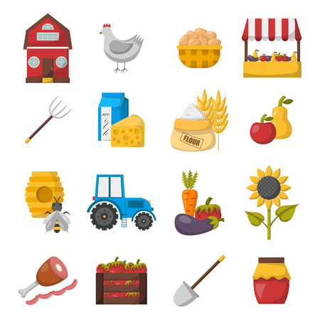eco flowers basket: Cartoon farm market icons.