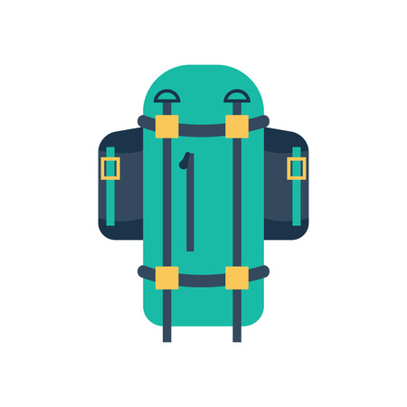 hiking: Vector illustration with cartoon flat backpack and sport suitcase