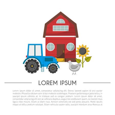 eco flowers basket: Vector illustration with cartoon farm market background