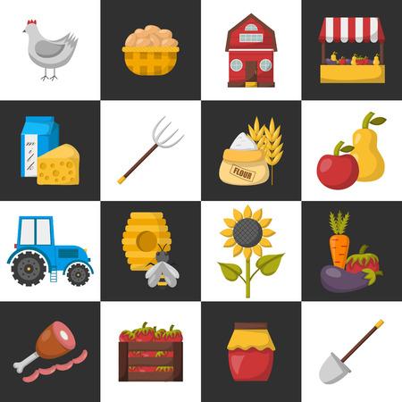 eco flowers basket: Vector illustration with cartoon farm market icons Illustration