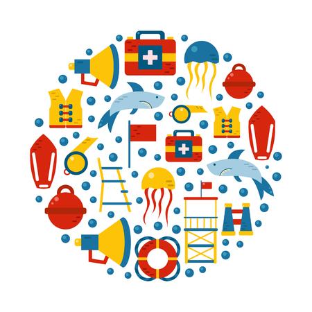 Vector flat cartoon lifeguard beach objects: buoy, shark, medusa, lifebuoy, life vest, whistle. Cartoon vector lifeguard icons. Emergence, survival, security beach nautical objects. Summer background