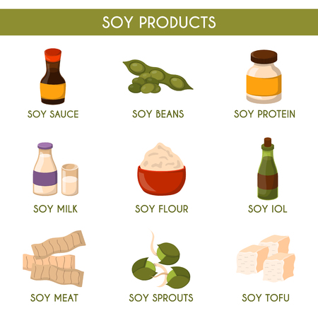 soya: Vector illustration with cartoon soy products: sauce, protein, soy milk, beans, oil, flour, sprouts, soy meat, tofu. Vegan source of protein. Vector healthy food concept icon. Vegetarian lifestyle Illustration