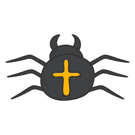 crawly: Vector cartoon illustration with hand drawn black isolated poisonous spider on white background. Exotic tropical insects icon. Vector spider isolated. Children book cover illustration