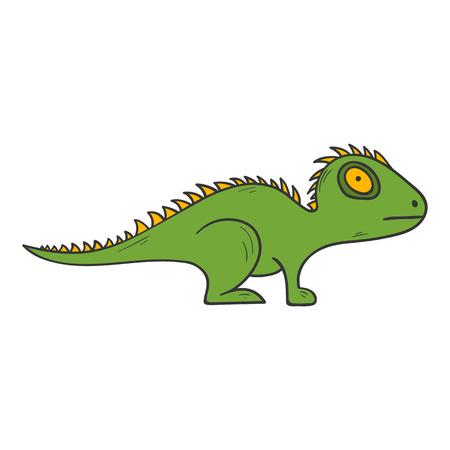 벡터 만화 그림 손으로 그린 격리 된 도마뱀,이 구 아나, 흰색 배경에 도마뱀. 이국적인 열 대 파충류 동물 벡터 아이콘입니다. 어린이 책 표지 그림 일러스트