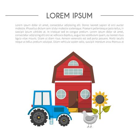 eco flowers basket: Vector illustration with cartoon farm market background. Organic farm concept. Harvesting, agriculture objects. Cartoon bio eco farm products