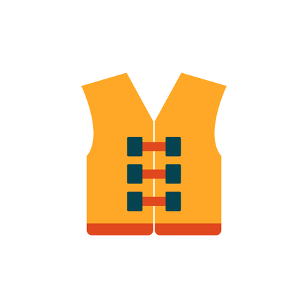 Vector illustration with cartoon flat orange life jacket or vest. Swimming, boat, sea trip protection icon. Life saver on the sea. Vector icon on white background