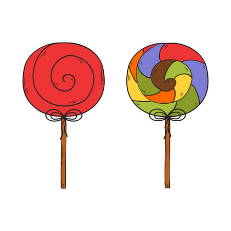 Vector illustration with cartoon colorful hand drawn lollipops isolated on white background. Cartoon sweet sugar food icon. Spiral, round lollipop. Childhood caramel. Unhealthy sweet eating