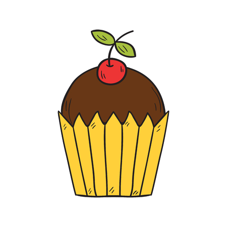 Vector cartoon illustration with isolated hand drawn cherry muffin on white background. Sweet food dessert, cupcake icon. Birthday or party snack. Cartoon food icon. Homemade sweet pastry. Bakery icon Illustration