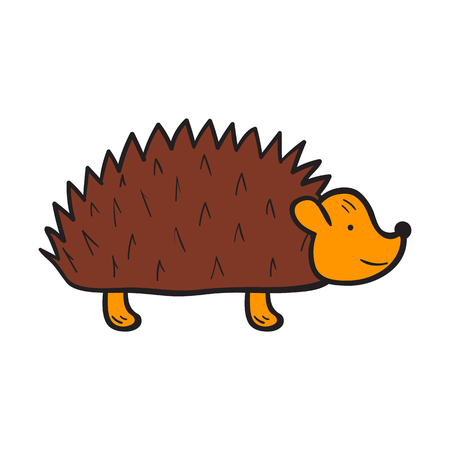 spiked: Vector cartoon illustration with hand drawn isolated brown hedgehog on white background. Vector cartoon animal icon. Hand drawn hedgehog for children book cover illustration. Zoo or forest animal