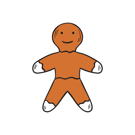 Vector cartoon illustration with hand drawn isolated brown gingerbread man cookie. Christmas vector icons. Hand drawn cartoon Christmas gingerbread man. Traditional holiday cookies