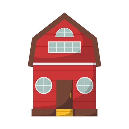 Vector Illustration With Cartoon Isolated Farm House On White Background Red Country Icon
