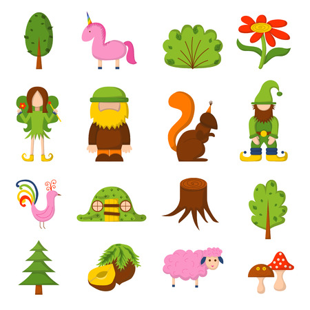 Vector illustration, cartoon children magic forest icons. Fairy tale, fantasy, magic objects. Children vector book cover, illustration. Cartoon cute card, magic tree, forest creatures, unicorn