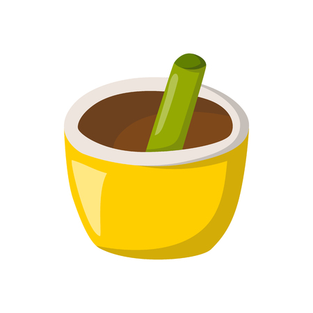 Vector illustration with cartoon isolated herb pounder icon on white background. Ayurveda alternative medicine vector icon. Healthy herbal spice, seasoning for cooking ingredients. Aromatic concept