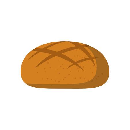白い背景の漫画隔離された丸いパン アイコン ベクトル イラスト。ベクトル漫画のペストリー、ベーカリー ショップ アイコン。健康的な朝食用食品
