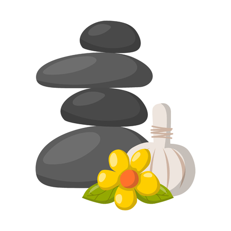 Vector illustration with cartoon isolated relax stones icon on white background. Ayurveda zen relaxation medicine. Symbol of tranquility, balance and harmony. Vector cartoon black massage stones
