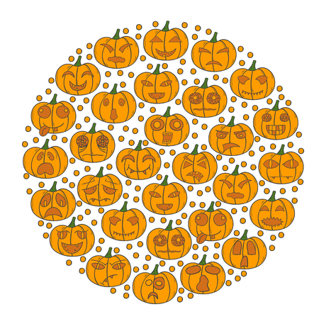 Vector illustration with cartoon hand drawn background of orange Halloween Pumpkin with different scary or funny carving faces. Vector Halloween Pumpkin background. Trick or treat concept Illustration
