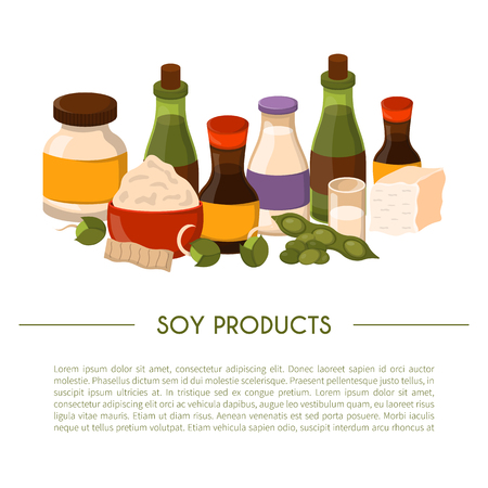 Vector illustration with cartoon soy products: sauce, protein, soy milk, beans, oil, flour, sprouts, soy meat, tofu. Vegan source of protein. Vector healthy vegetarian food concept cartoon background Ilustração