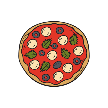 Vector illustration with cartoon hand drawn isolated pizza on white background. Italian cuisine vector icon. Fast food. Cartoon italian restaurant or cafe menu. Mozarella, tomato sauce, basil food Illustration