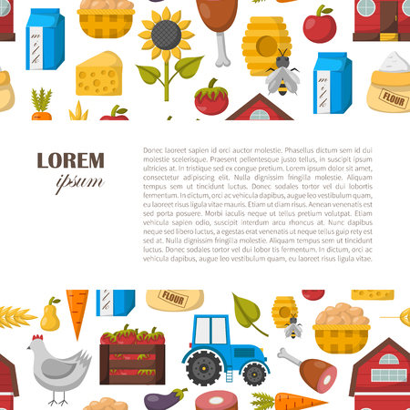 eco flowers basket: Vector illustration with cartoon farm market background. Organic farm concept. Harvesting, agriculture objects. Cartoon bio eco farm products: vegetables, meat, milk products, honey, fruits Illustration