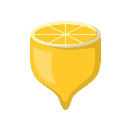 Vector illustration with cartoon flat isolated yellow lemon half. Fruit vector icon. Fresh organic source of vitamin. Cartoon lemon on white background. Raw tropical citrus fruit vector icon Illustration
