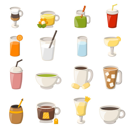 Vector illustration with cartoon non-alcoholic beverages icons. Glasses with cartoon drinks: water, tea, soda, juice, lemonade, coffee, milk cocktail. Non alcoholic drinks vector icons