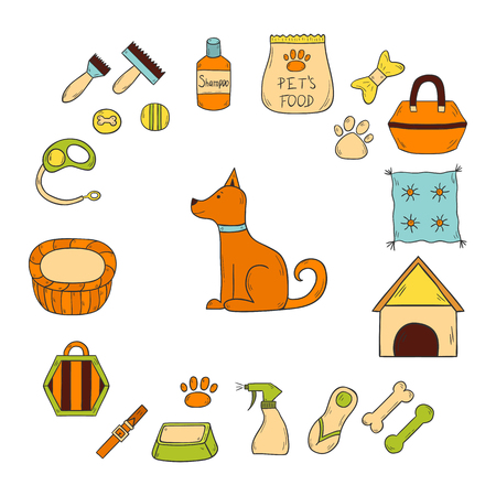 stuff toys: Vector illustration with cartoon hand drawn dog stuff icons with dog character. House pet concept. Vector hand drawn petshop icons. Dog house, training equipment, accessory, toys and shampoo Illustration