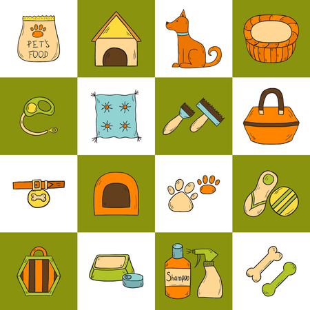 A Vector illustration with cartoon hand drawn dog stuff icons with dog character. House pet concept. Vector hand drawn petshop icons. Dog house, training equipment, accessory, toys and shampoo