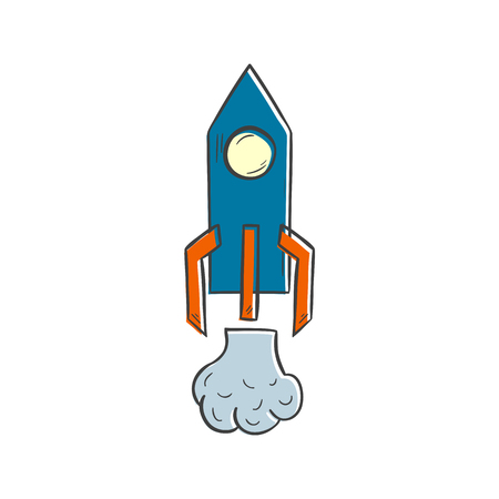 Vector illustration with cartoon hand drawn isolated rocket spaceship icon. Startup, business, science technology vector icon. Hand drawn cosmos travel concept. Isolated rocket on white background Illustration
