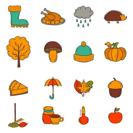 cartoon umbrella: Vector cartoon illustration with hand drawn autumn icons. Pumpkin pie, turkey, autumn leaves, rain , umbrella, harvesting concept. Vector september, october icons. Hand drawn cartoon autumn objects Illustration