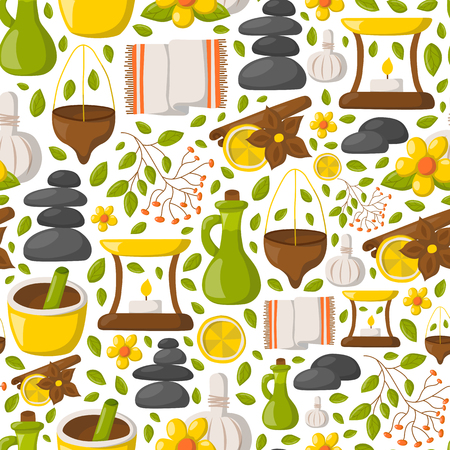 Vector illustration with cartoon ayurveda background. Wellness therapy, health and body care, spa alternative medicine. Vector cartoon ayurveda background. Relaxation, ayurvedic medicine vector Иллюстрация