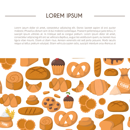 bakery products: Vector illustration with cartoon bakery shop background. Pastry vector objects. Sweet bun, croissant, flour, cake, donut products. Vector bakery food. Pastry breakfast cartoon sweet food