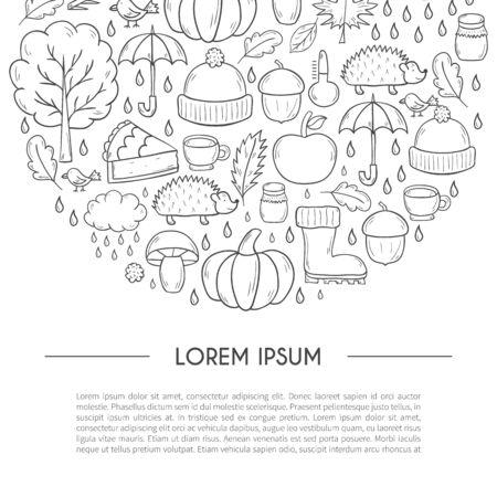 Vector cartoon illustration with hand drawn autumn background. Pumpkin pie, turkey, autumn leaves, rain , umbrella, harvesting concept.