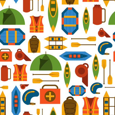 Vector illustration with flat rafting background. Water extreme sport equipment. Vector flat boats, cloth, tent, canoe icon, kayak. Outdoor summer tourism. Rafting flat vector background Illustration