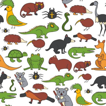 Vector cartoon illustration with hand drawn australia animals background. Australian kangaroo, koala, emu, wombat. Cartoon vector zoo characters. Australia tourism concept. Nature wildlife background Illustration