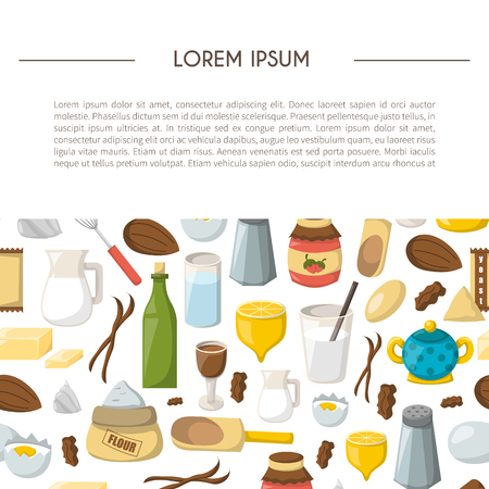 Vector cartoon illustration with baking ingredients. Cooking ingredients background. Vector cartoon kitchen culinary food elements for cooking. Cartoon pastry preparation vector ingredients
