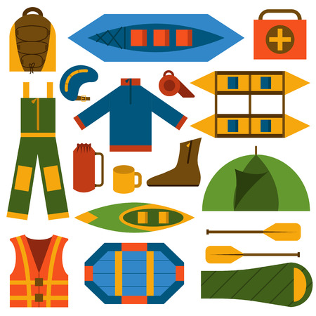 Vector illustration with flat rafting icons. Water extreme sport equipment. Vector flat boats, cloth, tent, canoe icon, kayak. Outdoor summer tourism. Rafting flat vector icons Illustration