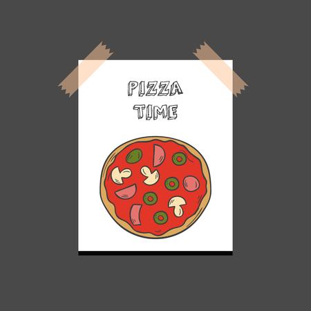 Vector illustration with cartoon hand drawn isolated pizza on white background. Italian cuisine vector icon. Fast food. Cartoon italian restaurant or cafe menu. Mozarella, tomato sauce, basil food Vectores