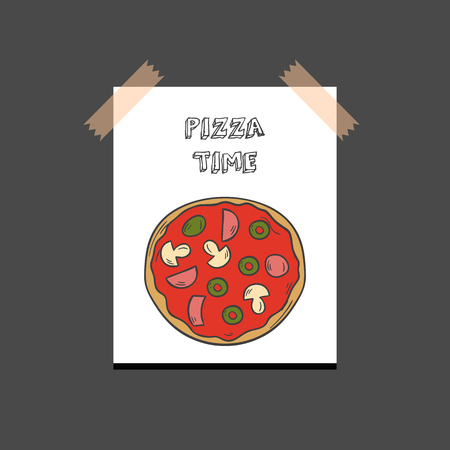 Vector illustration with cartoon hand drawn isolated pizza on white background. Italian cuisine vector icon. Fast food. Cartoon italian restaurant or cafe menu. Mozarella, tomato sauce, basil food Vettoriali