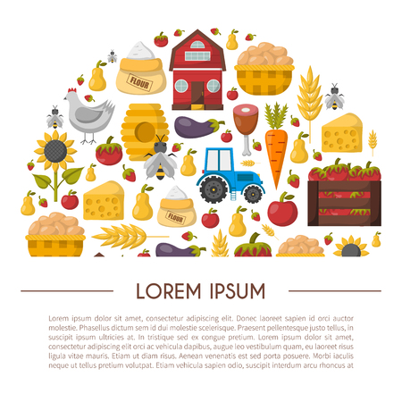 Vector illustration with cartoon farm market background. Organic farm concept. Harvesting, agriculture objects. Cartoon bio eco farm products: vegetables, meat, milk products, honey, fruits Illustration