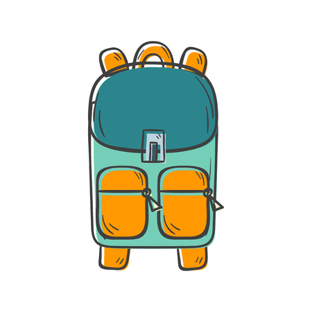 Vector illustration with cartoon hand isolated cute school backpack. Vector Back To School icon. Hand drawn school or preschool isolated object. Education equipment vector cartoon icon Ilustração