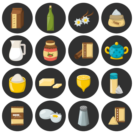 Vector cartoon illustration with baking ingredients. Cooking ingredients icons. Vector cartoon kitchen culinary food elements for cooking. Cartoon pastry preparation vector ingredients