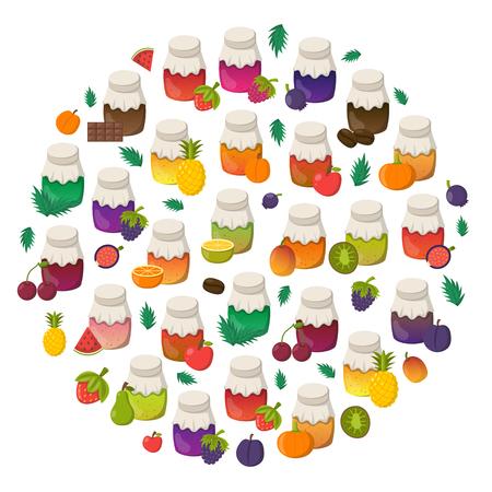 Vector cartoon illustration with collection of jam jars: strawberry, cherry, apple, berries, mango, lemon, orange. Set of sweet jelly marmalade glass bottles. Homemade sugar preserves background Illustration