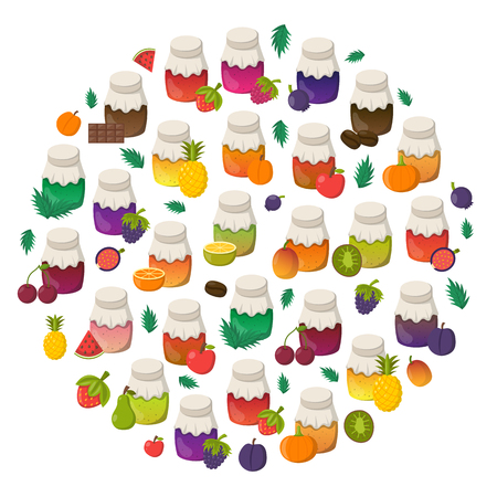 Vector cartoon illustration with collection of jam jars: strawberry, cherry, apple, berries, mango, lemon, orange. Set of sweet jelly marmalade glass bottles. Homemade sugar preserves background Illustration