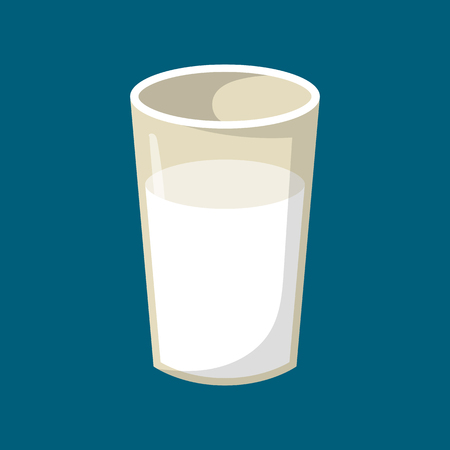 Vector illustration with cartoon isolated milk glass. Healthy dairy calcium beverage. Cow farm product icon
