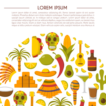 Vector cartoon illustration with Mexico icon: sombrero, native american hat, tequila, margarita, pepper, lime, palm, skull, mexican food, cactus, guitar, pyramid. Travel to Mexico concept background