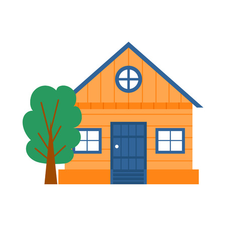 Vector cartoon illustration with isolated country or travel vacation house. Rent, sale building with tree. Front exterior view farm house icon. Cute flat vacation home