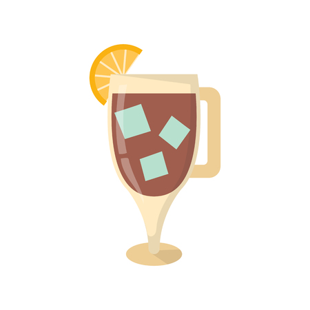 Vector illustration with cartoon ice tea glass and lemon. Cartoon fresh cold beverage icon. Summer refreshment drink cocktail